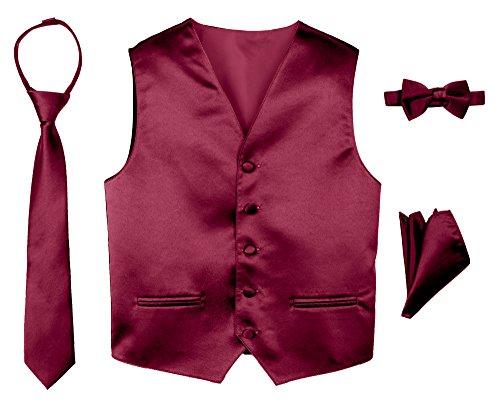 Spring Notion Boys' 4-Piece Satin Tuxedo Vest Set 4T Burgundy