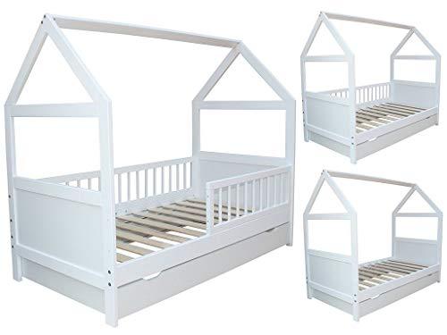 Kinderbett/Juniorbett Bett Haus 160x70cm mit Schublade weiss