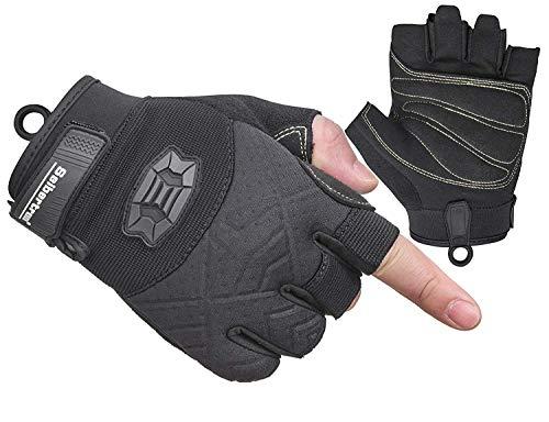 Seibertron Half Finger Padded Palm Lightweight Breathable Climbing Rope Handschuhe/Kletterhandschuhe for Kletterer, Klettern, Rettung, Abenteuer, Segeln, Kajakfahren, Sport imFreien Black XL