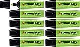Marcador fluorescente STABILO BOSS Original - Caja con 10 unidades - Color verde