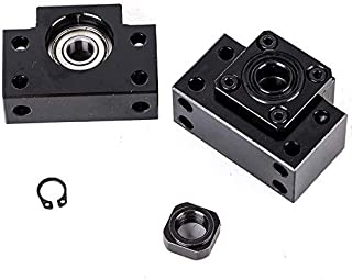 BestTeam BK12 & BF12 Bearing Block, 2pcs/Set BK12 BF12 Carbon Steel Ballscrew End Supports Bearing Blocks Mounts Base Mayitr Black Ball Screw Bearing Block Bracket