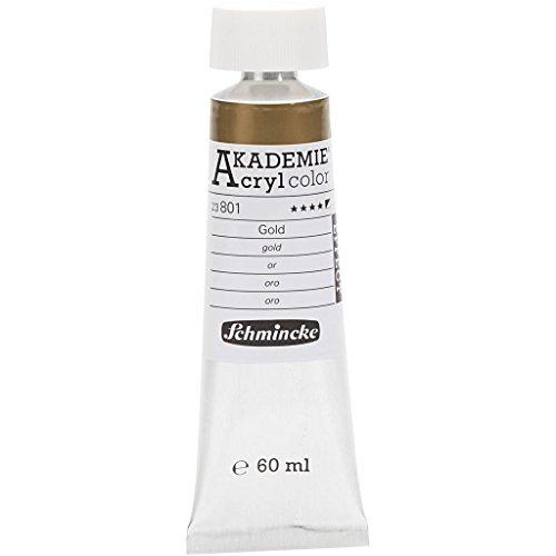 Schmincke AKADEMIE® Acrylfarbe, gold (801), halbdeckend, gute Lichtbeständigkeit, 60 ml