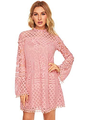 SheIn Women's Crochet Pom-pom Sheer Lace Bell Sleeve Dress Medium Pink