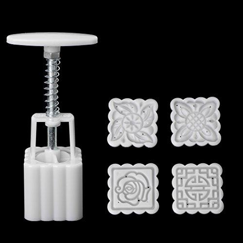 SimpleLife 5 Stück Briefmarken 50g Platz Blume Mond Kuchenform Mould Gebäck Mooncake Hand DIY Werkzeug