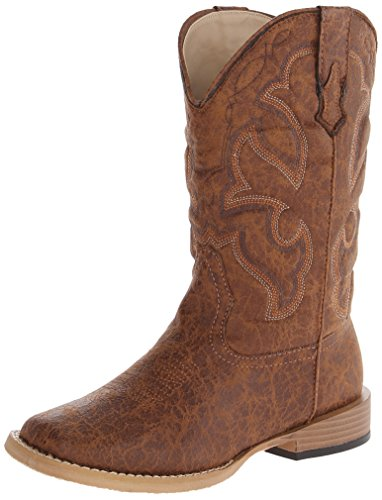 Roper Scout Square Toe Basic Cowboy Boot (Infant/Toddler/Little Kid/Big Kid), Tan, 4 M US Big Kid