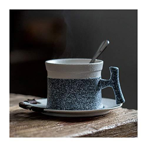 Taza La imitación de piedra esmalte esmerilado 5.4 onzas té de la porcelana/taza de café y platillo con la manija y atado a mano de la cuerda de la decoración del plato Tazas