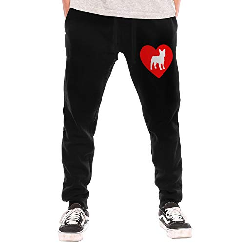 Love French Bulldog Men's Active Sport Lounge Sweat Pants with Pockets Black