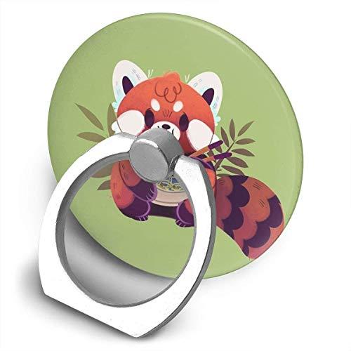 ARRISLIFE Red Panda Eating Ramen Soporte para teléfono,Round-Shaped Soporte para Anillo de teléfono Celular,360 Degrees Rotating Soporte de Metal