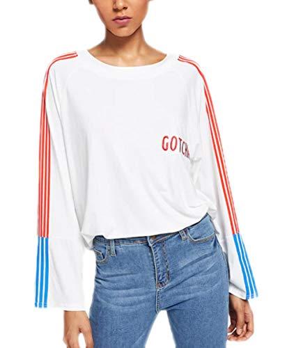 Camisetas Mujer Primavera Otoño Camisas Tops Vintage Manga Larga Elegantes Rayas Empalme...