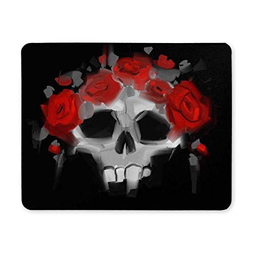 (Precision seamed) Gaming mouse pad,Mouse Pad Skull with A Wreath of Red Roses Mouse Pads for Computers Gaming Mousepad