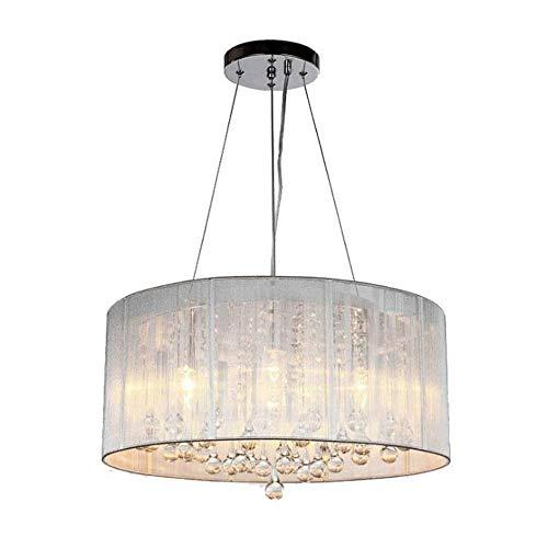 Wylolik Colgante de luz LED de cristal K9 tambor Tela Araña moderna con el paño de la cortina del metal del cromo gota de agua de techo Lámpara colgante for el dormitorio Escalera de noche Cocina Hall