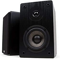 Micca MB42 Bookshelf Speakers with 4-Inch Carbon Fiber Woofer and Silk Dome Tweeter, Black,Micca,MB42