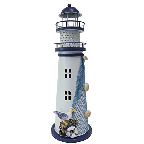 JAROWN - Farol LED de Metal con luz Nocturna, Estilo Vintage, diseño de Faro oceánico, Hierro Fundido, Style B