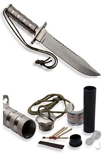 350mm Survivalmesser mit festehender Klinge Gürtelmesser mit Überlebensausrüstung - Rambo Messer BW Kampfmesser, Silber