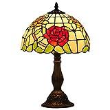 AMAFS Lámpara de Mesa de iluminación Tiffany para el hogar, Mesa de Sombra de Vidrio Floral, luz de cabecera Antigua para Sala de Estar, Manualidades, Regalos Beautiful Home