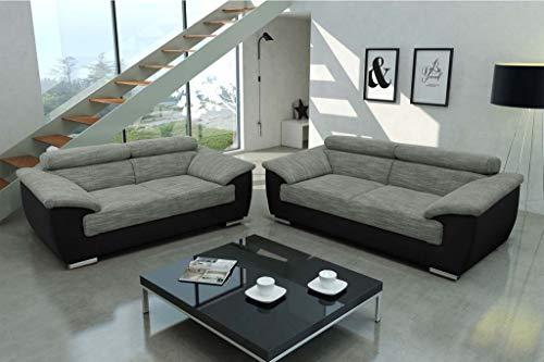 Froschkönig24 DORIO Sofagarnitur Polstergarnitur 2-Sitzer 3-Sitzer Couch Sofa Silber/Schwarz, Füße:Echtholz Wenge