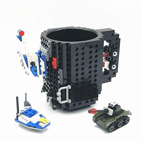 VANUODA Build Tasse Brick Mug Becher,Ostern Vatertag Geburtstag Einschulung Weihnachtengeschenk Idee,Personalisierte Geschenk für Männer Frauen Mama Kinder Papa Junge,Kompatibel für Lego (Schwarz)