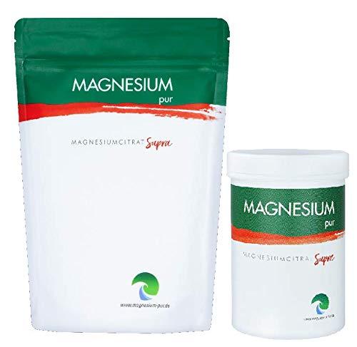 Magnesium Pur - Supra Granulat Trimagnesiumdicitrat, Starterset 300g Dose und 500g Beutel