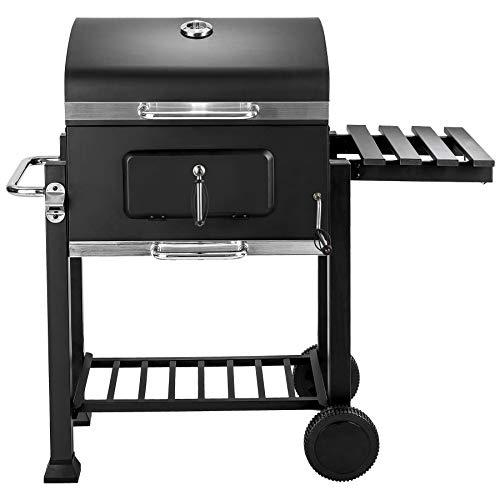 tectake Barbecue au Charbon de Bois Robuste et Mobile, Grille de Réchauffement Supplémentaire, Thermomètre Installé sur le Dessus du Barbecue