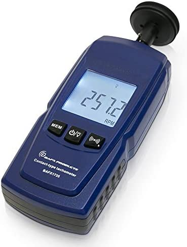 BAFX Products Handheld Digital Contact Tachometer Wheel Meter for Reading RPM Linear Surface product image