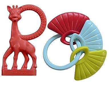Vulli - Conjunto de accesorios de bebé: Vainilla sonajero mordedor Sophie la jirafa con conchas