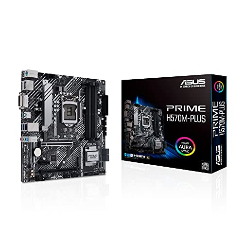 ASUS PRIME H570M-PLUS Carte mère Intel H570 LGA 1200 ATX (PCIe 4.0, 8 phases d'alimentation, DisplayPort, HDMI, DVI, SATA 6 Gb, USB 3.2 Gen 2 Type-C, Ethernet Intel 1 Gb, Thunderbolt 4, Aura Sync RGB)