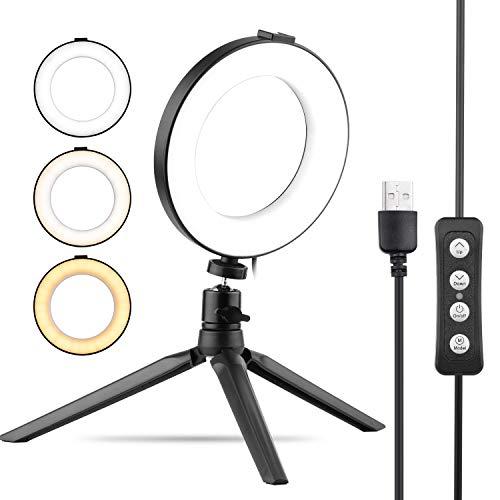 Zwbfu Anillo de luz USB de 6 Pulgadas Selfie Beauty Luz LED 3 Modos de iluminación Regulable con Adaptador de Cabeza esférica + Trípode de Escritorio para Vlog Makeup Network Broadcast Online Video