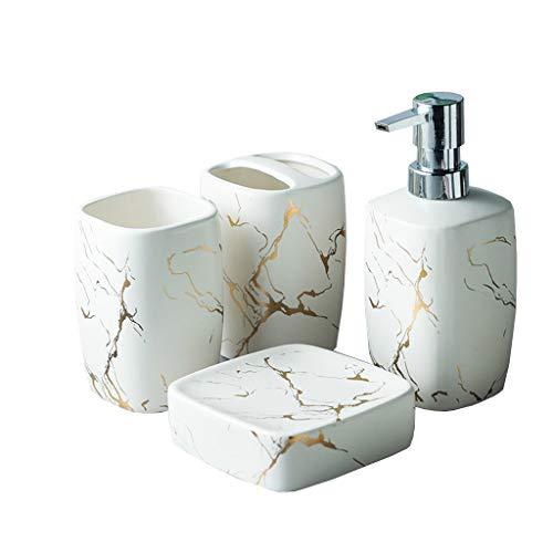 QLTY Conjunto Accesorios de baño,Que Incluye dispensador de jabón,jabonera,Taza de Enjuague bucal,Soporte para Cepillo de Dientes,Regalo para el hogar,Conjunto de Accesorios de baño de cerámica