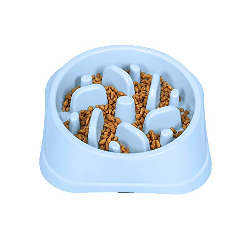 UPSKY Slow Feeder Small Dog Bowls Non Slip Puzzle Bowl Fun Feeder Interactive Bloat Stop Dog Bowl Anti-Choking Dog Bowl (Blue)