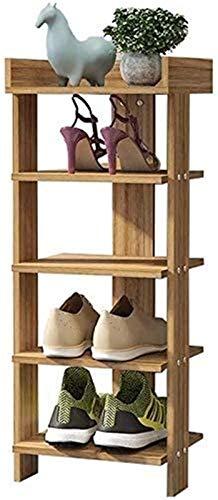 Wddwarmhome Estante de Zapatos Rack Zapatillas Estructura de Almacenamiento Organizador Estante para Sala de Estar Salón Dormitorio Hall Hallves, Color de Madera, 5 Niveles