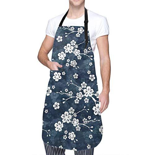 Patrón de Flor de Cerezo Azul Marino y Blanco Ropa de hogar de Cocina Unisex Delantales duraderos con Cuello Ajustable para cocinar Jardinería Hornear