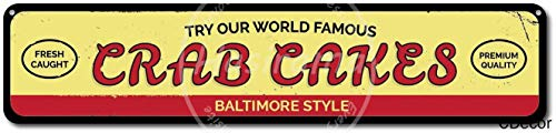 Boloi World Famous Crab Cakes Metal Plaque Tin Wall Sign Retro Iron Painting Warning Wall Poster for Cafe Pub Bar Gaming Room Wedding Gift