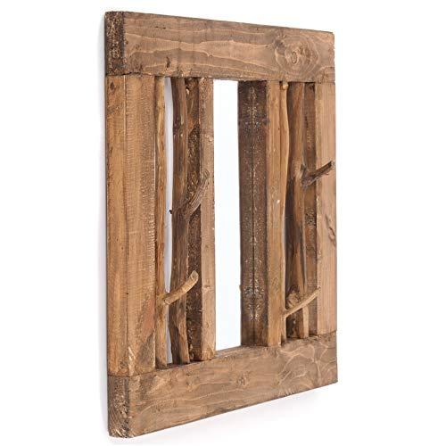 Kleerkasten WANDSPIEGEL Stockholm | Gerecycled hout, 70x60x9 cm (BxHxD), 4 kleerhaken | Wandkapstok met spiegel, halspiegel, garderobespiegel