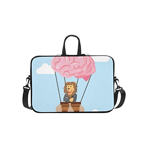 15.6″Lightweight Laptop Notebook Shoulder Backpack Bag Business Lion Flying Air Balloon Brain Waterproof PC Briefcase Messenger with Strap