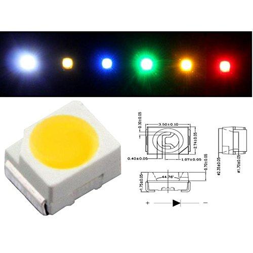 50x Superhelle SMD LEDs PLCC2 ; 3528 3,5x2,8x1,9mm ; Kalt Weiß 6000K