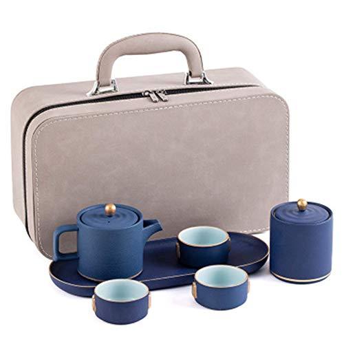 RTYUI Set da tè Portatile Kung Fu Set da tè Set da tè Set da tè Kungfu Set da tè Gongfu Teiera in Porcellana E 3 Tazze da tè con Una Pratica Borsa (Blu) (Colore : Blu,Taglia : Taglia Unica)
