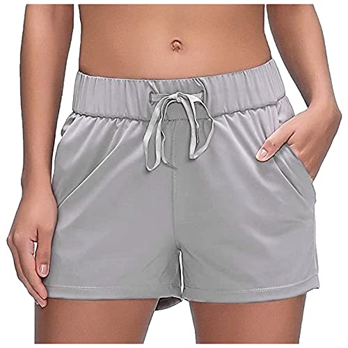 Boboar Womens Quick Dry Running Shorts Gym Athletic Shorts Pockets Breathable Loose Draw Active Workout Shorts Gray