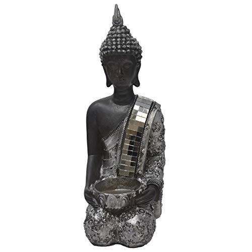 Hogar y Mas Figura Buda de la Suerte Sentado, Figura Portavelas Buda, Decoración Budista, Buda de la Suerte Plateado con Espejos, 23x14x8cm