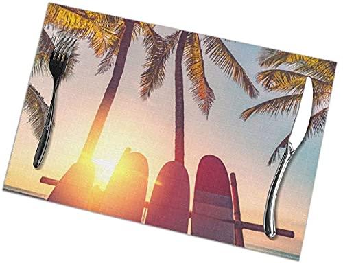 Manteles Individuales Tabla de Surf Palm Tree Beach Sunset Juego de 6 manteles Individuales para Mesa de Comedor Manteles Individuales Lavables Resistentes a la abrasión, 12 x 18 Pulgadas