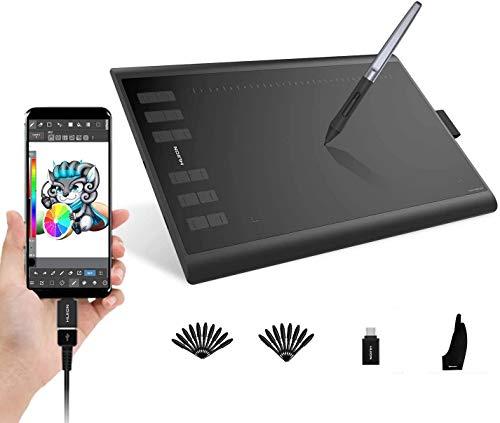 HUION Inspiroy H1060P 2019 Actualización de Dibujo de la Tableta gráfica Función de inclinación ± 60 ° Stylus sin batería con 8192 Presión 12 Teclas Personalizadas para Windows, Mac y Android