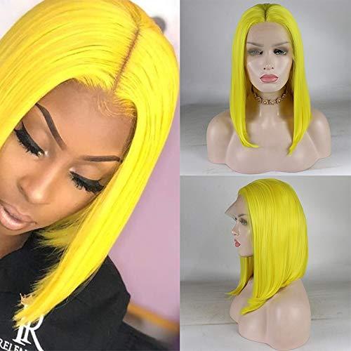 CPalsen Peluca de repuesto, de fibra resistente al calor, con encaje frontal, color amarillo, para mujeres