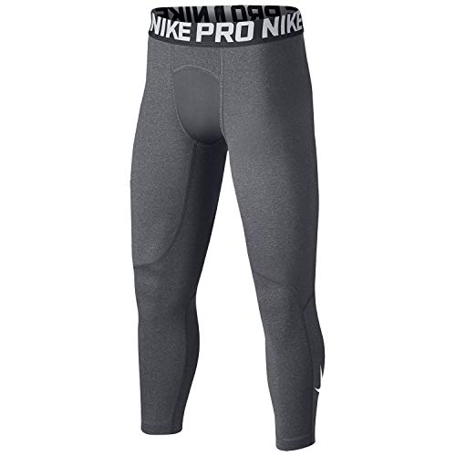 Nike Boys' Pro Cool 3/4 Length Compression Tights (Carbon Heather(858228-065)/White, Small)