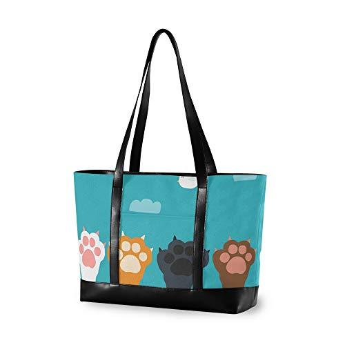 RELEESSS - Bolso para portátil con estampado de huellas de gato, para mujer, mujer y niña