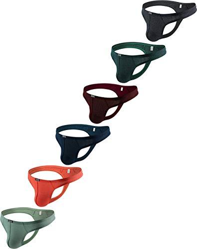 iKingsky Men's Stretch Thong Underwear Soft T-back Mens Under Panties (Medium, 6 Pack)