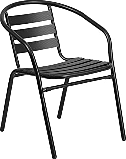 Outdoor Black Metal Restaurant Stack Chair with Aluminum Slats