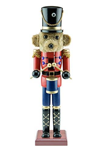 Clever Creations - Schiaccianoci Orsetto tamburino - con Giacca Rossa e Pantaloni Blu - Decorazione Natalizia per Tavolo/mensola - Solida Struttura in Legno - Altezza 38 cm