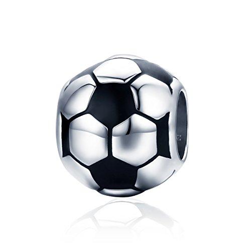 Ciondolo a forma di palla da pallavolo, compatibile con braccialetti Pandora, in argento Sterling 925 Calcio
