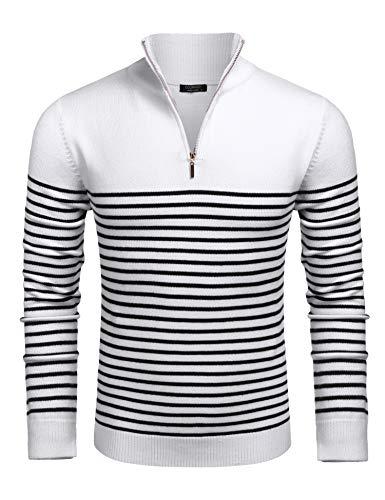 COOFANDY Baumwollpullover für Männer Stehkragen Strickpullover mit halbem Reißverschluss Herbst Winter gestreifter Pullover Weiß XL