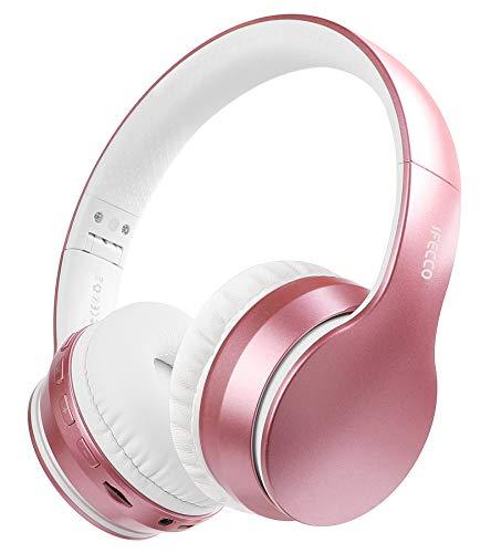 Cuffie Bluetooth 5.0 Senza Fili, iFecco Stereo Pieghevole Auricolari con Mic, Lettore MP3, Radio FM, Wireless e Cuffie Cablate, Cuffie Over Ear