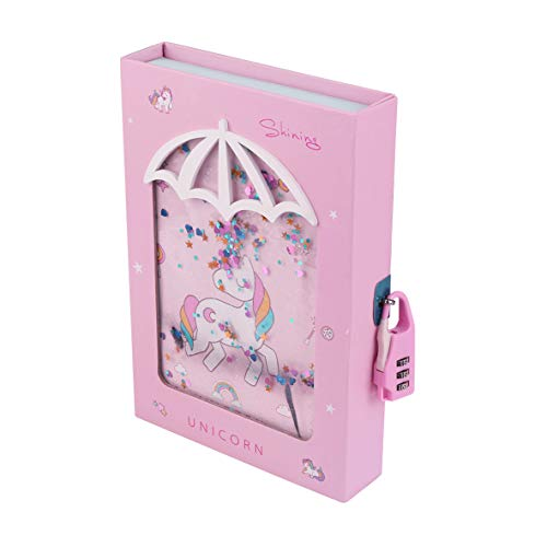 Unicorn Diary with Lock for Girls Unicorn Quicksand Glitter Liquid Floating Lockable Diary for Girls Lockable Notebook for Girls Unicorn Diary with Lock for Kids with Gift Box ( Random Cover Color )